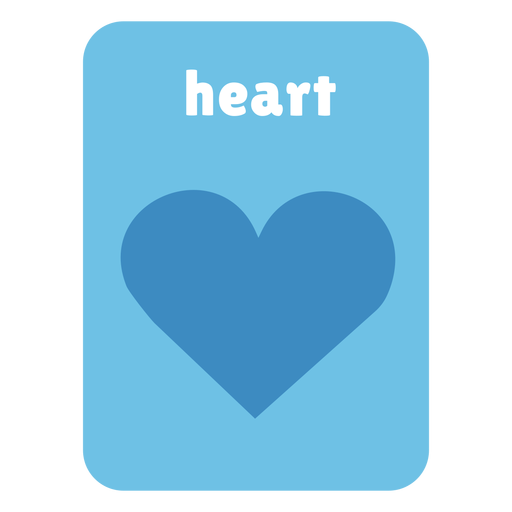 Heart shape flashcard