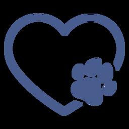 Corazón con trazo de huella de perro
