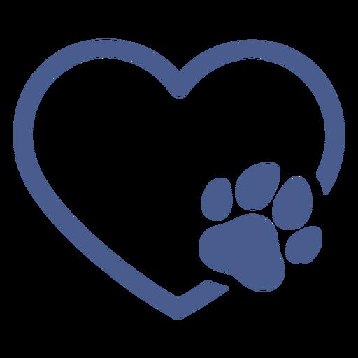Heart with dog footprint stroke