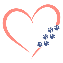 Coração com pegadas de cachorro planas