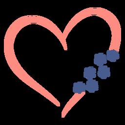 Corazón con huellas de perro planas