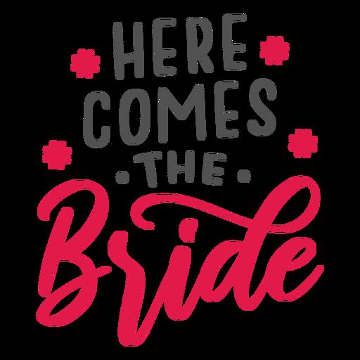 Aí vem a inscrição da noiva