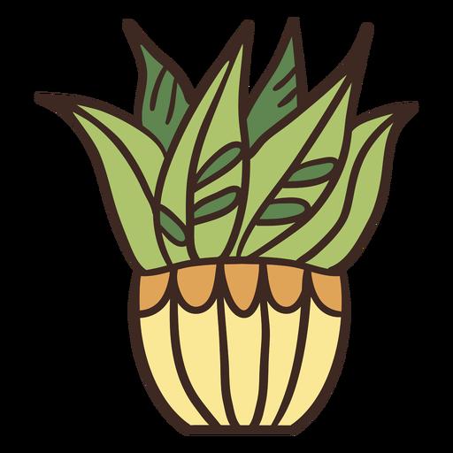 Ilustración de maceta amarilla de planta de casa