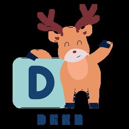 Alfabeto de letra d ciervo