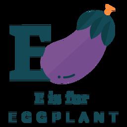 Letter e eggplant alphabet