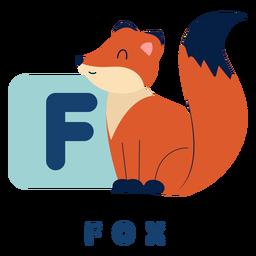 Alfabeto de letra f raposa