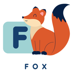 Letter f fox alphabet