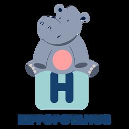 Alfabeto de letra h hipopótamo