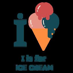 Alfabeto de letra i helado