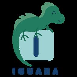 Letter i iguana alphabet