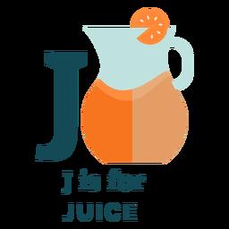 Alfabeto de suco de letra j