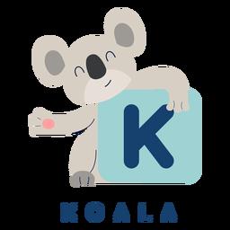 Alfabeto de letra k koala