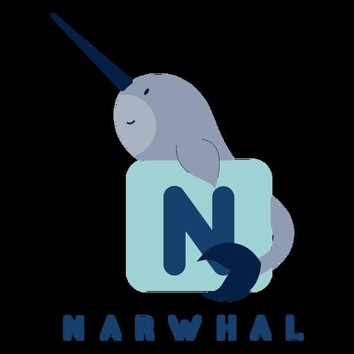 Letter n narwhal alphabet Transparent PNG