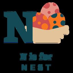 Letter n nest alphabet