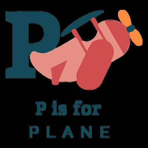 Letter p plane alphabet