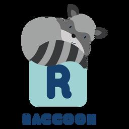 Alfabeto de mapache de letra r