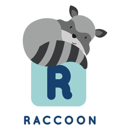Letter r raccoon alphabet
