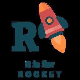 Alfabeto de letra r foguete