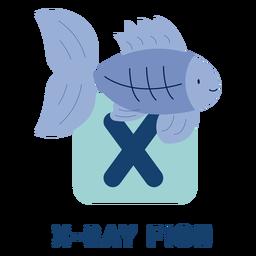 Alfabeto de letra x rayos x pescado