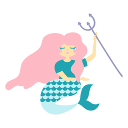 Mermaid trident character flat