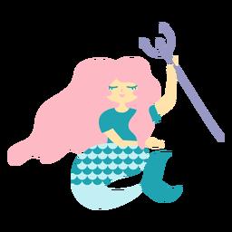 Sirena tridente personaje plano