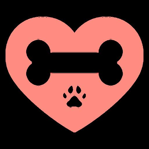 Huella de perro rosa corazón hueso plano