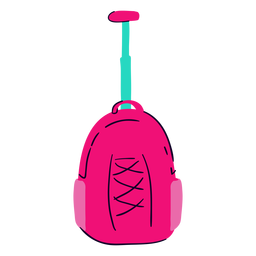 Pink school backpack flat