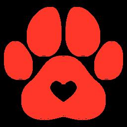 Pegada de cachorro vermelho plana