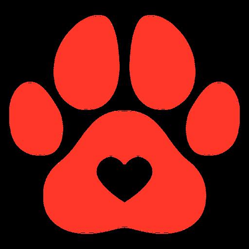 Pegada de cachorro vermelha plana