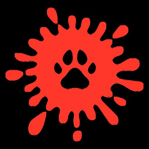 Huella de perro rojo splash plana