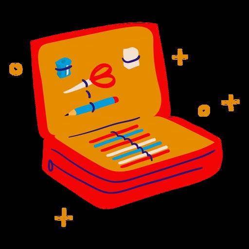 School pencil case flat Transparent PNG