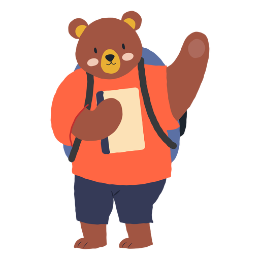 Studying bear character Transparent PNG