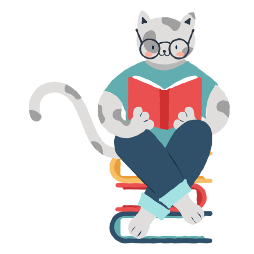 Studying cat character Transparent PNG