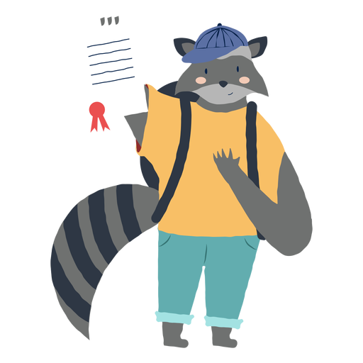 Studying raccoon character Transparent PNG
