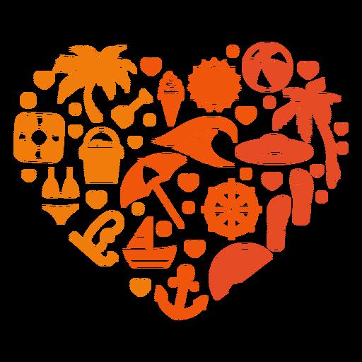 Corazón de playa de verano