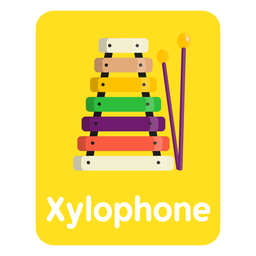 Cartão de vocabulário xilofone