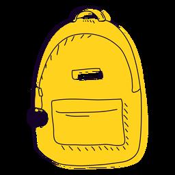 Mão amarela mochila desenhada