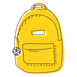 Yellow backpack hand drawn