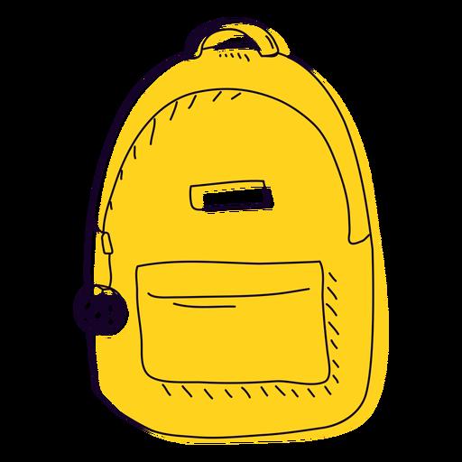 Mochila amarela desenhada à mão