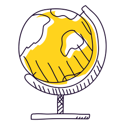 Yellow globe hand drawn