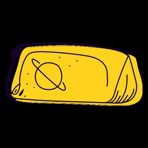Estuche de lápices amarillo dibujado a mano