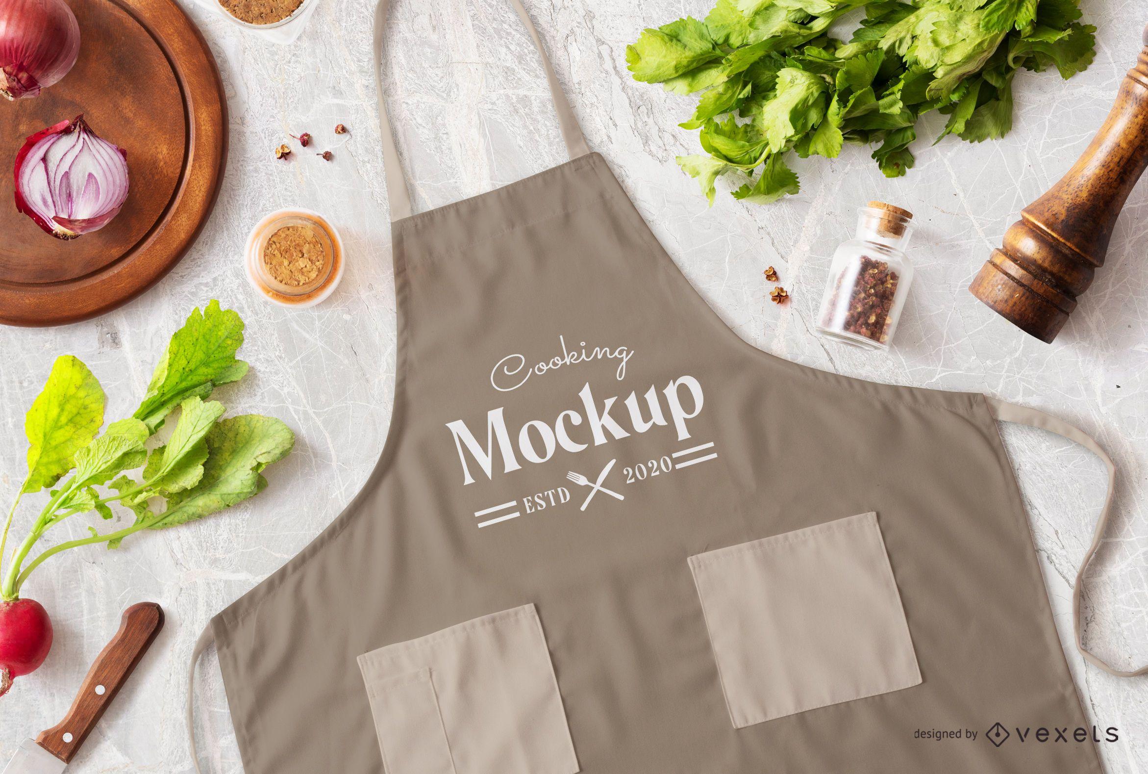 Composição de maquete de avental para cozinhar