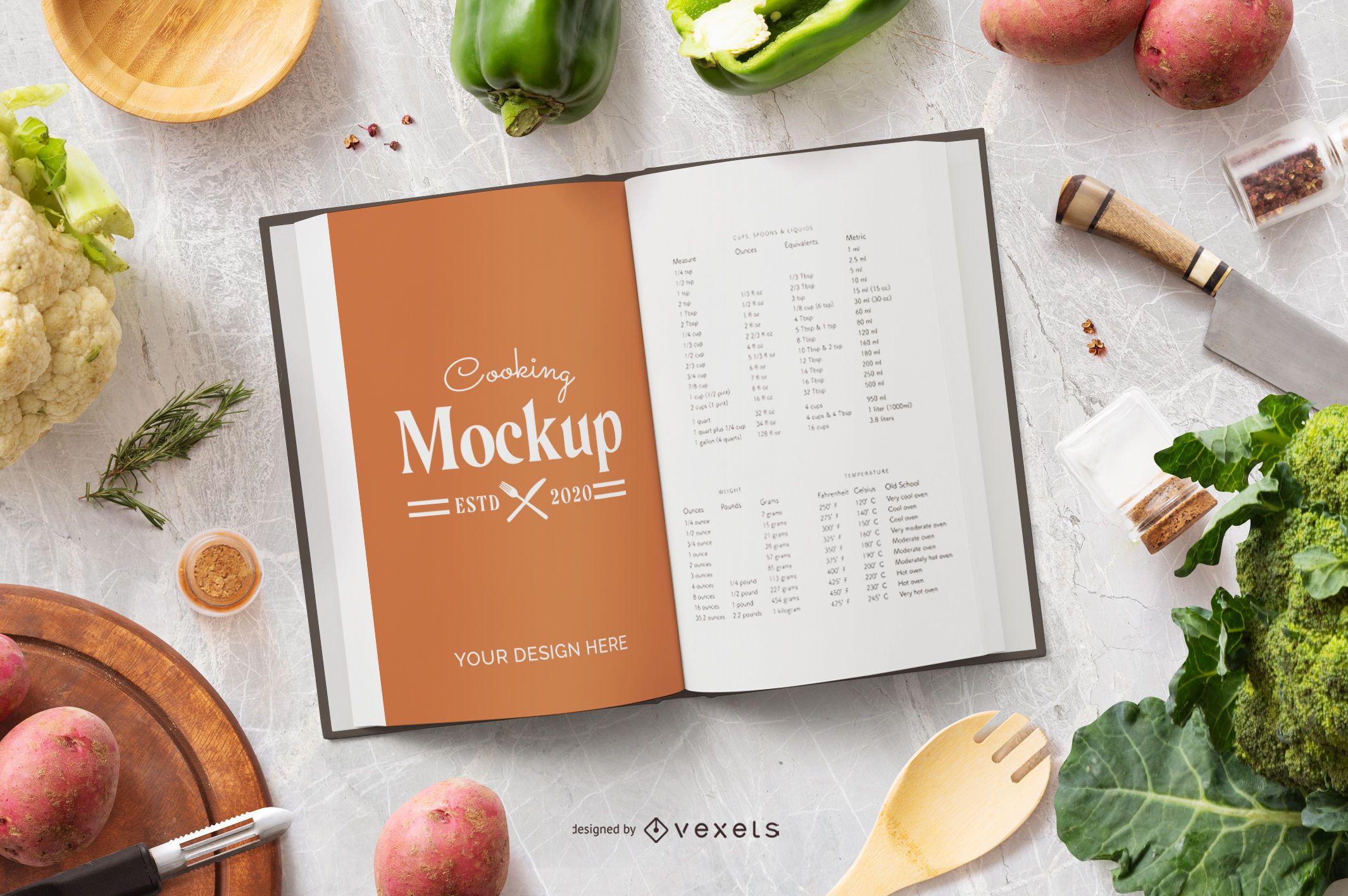 Composición de maqueta de libro de cocina