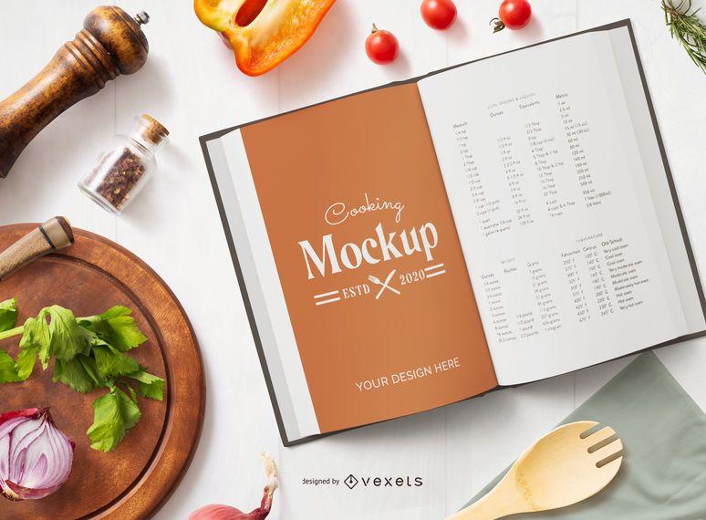 Composición de maqueta de libro de cocina abierta