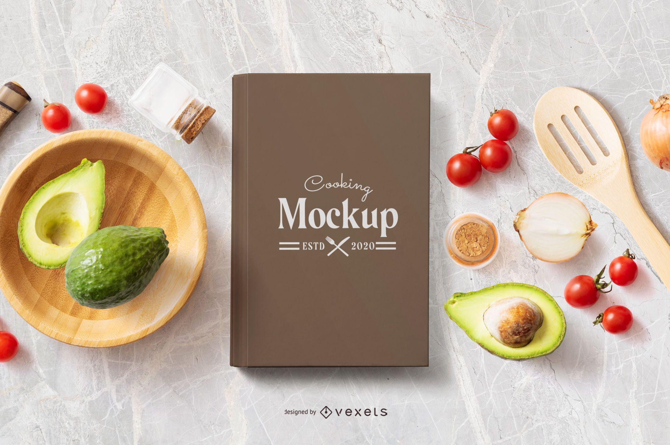 Maqueta de composición de alimentos de libro de cocina