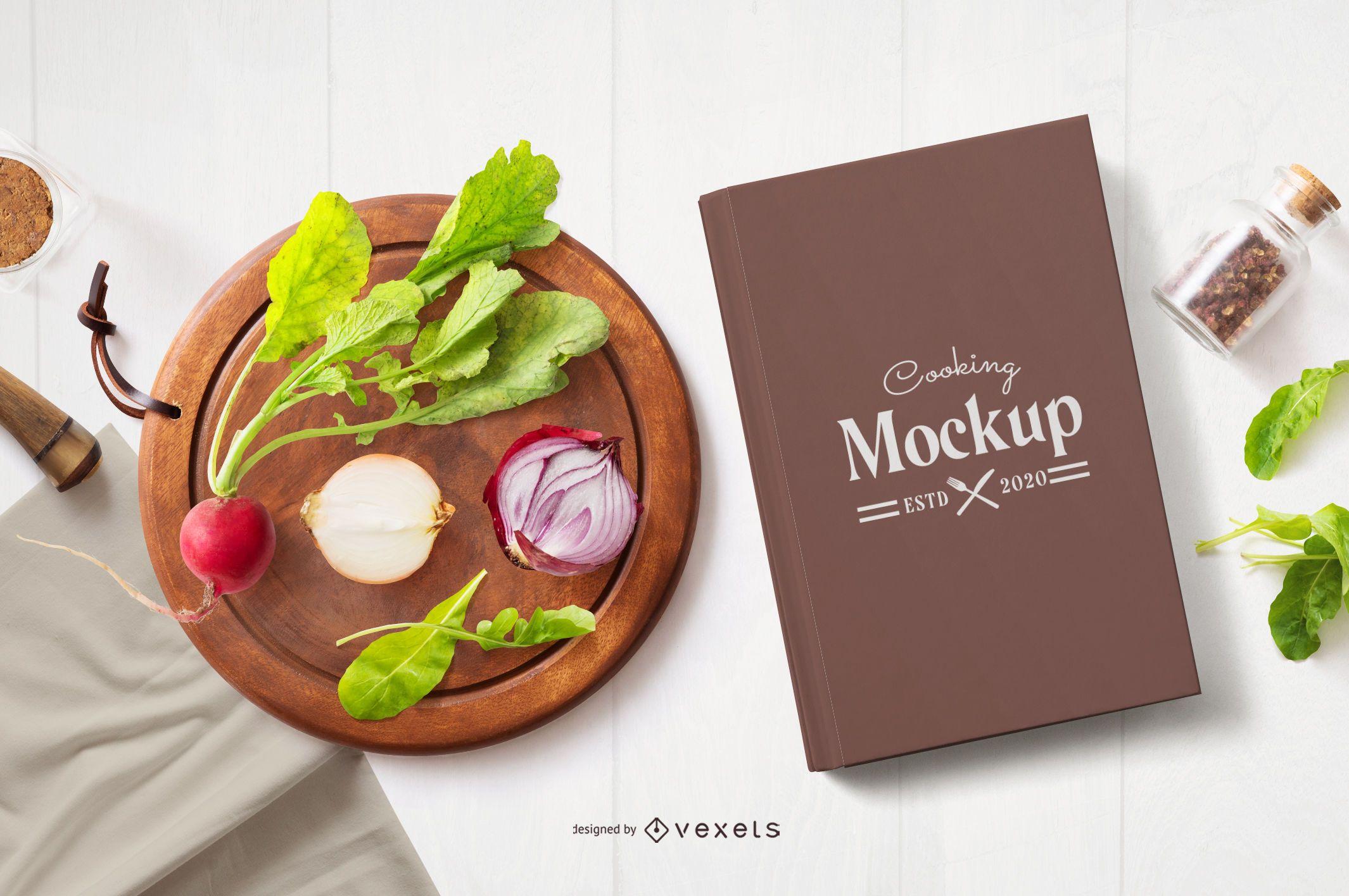 Composição de maquete de capa de livro de culinária