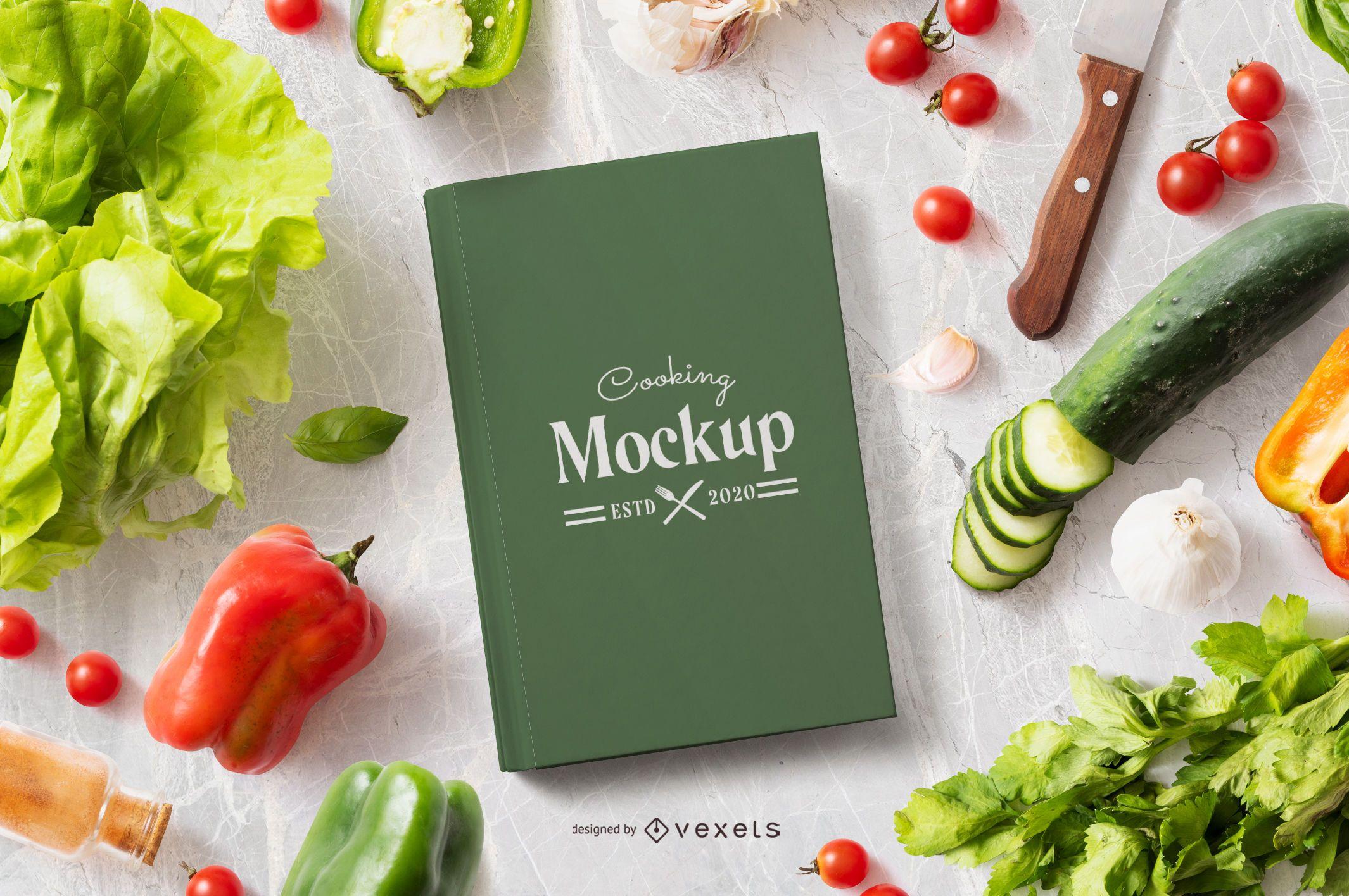 Composição alimentar de maquete de livro de culinária