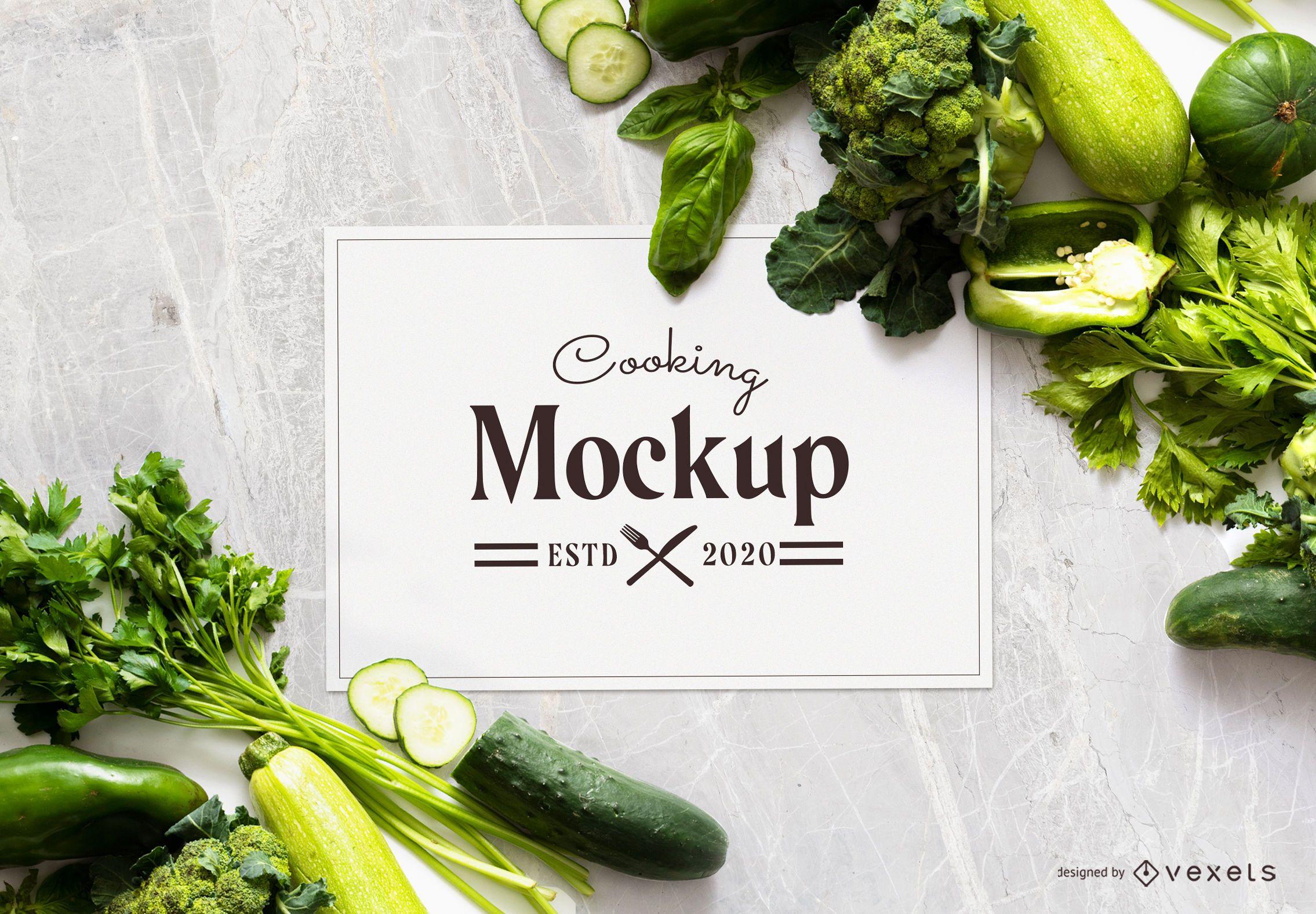 Green vegetables mockup composition