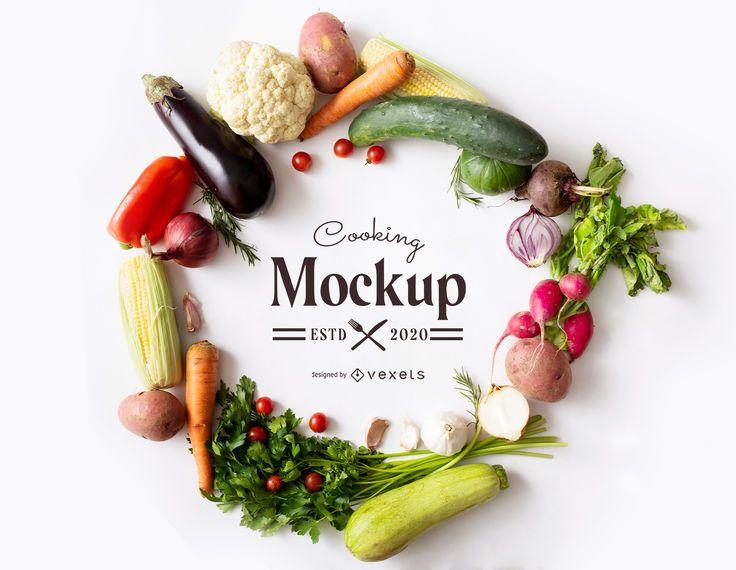 Vegetables frame mockup composition
