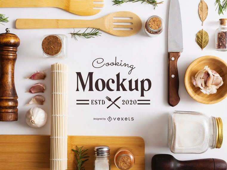 Tidy Cooking Elements Composition Mockup